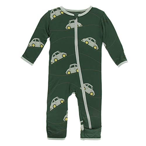 Kickee Pants Little Boys Print Coverall with Zipper - Topiary Italian Car, 9-12 Months