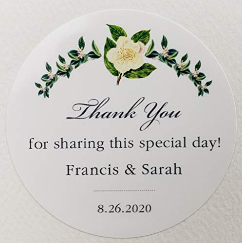 Personalized White Flower Garland Wedding/Party Favor Labels/Stickers – Set of 25