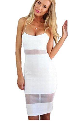 Elegante vestido de Cóctel Bodycon pura de las mujeres White