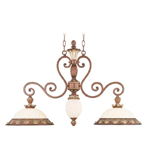 Livex Lighting 8472-57 Island Pendant with Vintage Carved Scavo Glass Shades, Venetian Patina