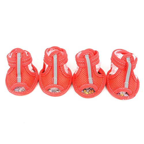Zunea Summer Mesh Breathable Dog Shoes Sandals Non Slip Paw Protectors Reflective Adjustable Girls Female,for Small Pet Dog Cat Puppy Red S