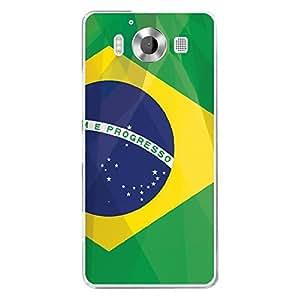 Carcasa rígida transparente para Microsoft Lumia 950con impresión, diseño bandera de Brasil