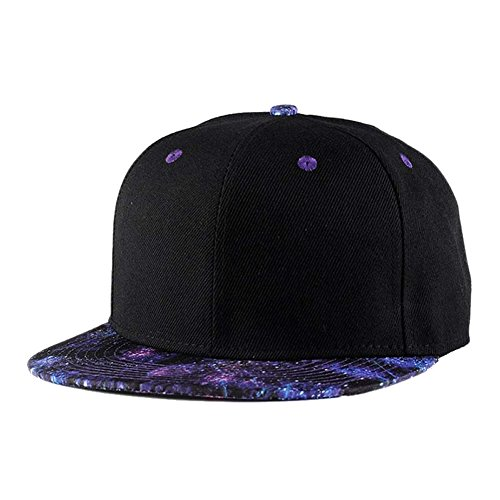Quanhaigou Purple Galaxy Snapback Hat Unisex Trucker Hat Hip Hop Plaid Flat Bill Brim Adjustable Baseball Cap, Black Purple, One Size (Brim Cap Flat)