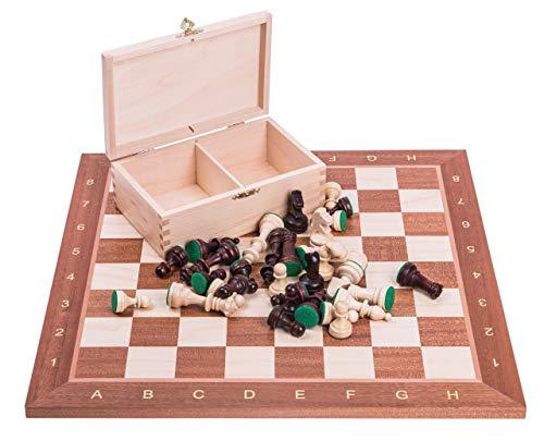 Square – Profesional Ajedrez de Madera Nº 4 – Caoba – Tablero de ajedrez + Figuras – Staunton 4