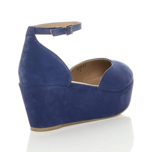 Shoes Pumps Blue Heel Court Flatform Women Mid Suede Ajvani Size xq6U1AW