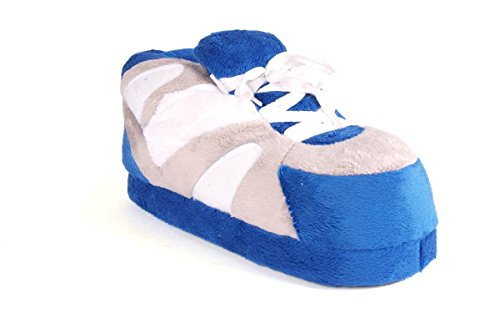 Pieds Heureux Hommes Et Femmes Pantoufles Sneaker Standard Bleu Gris Et Blanc