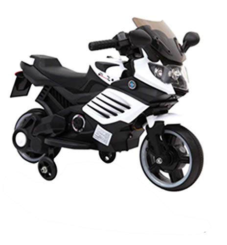 Toytexx Kids 6 V Ride On Electric Motorbike w/Training Safety Wheels-White Color