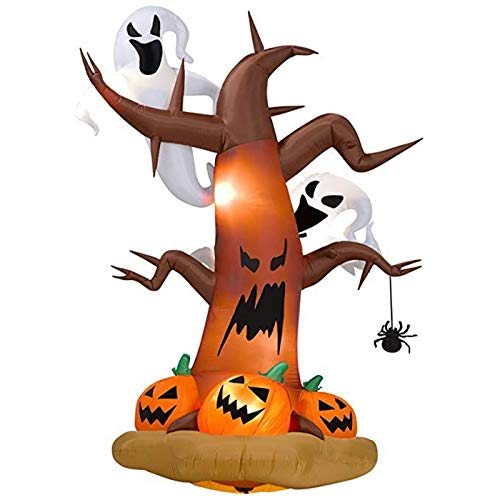 (Luckyshop 8 Foot Dead Tree with Owl Phantom and Pumpkins Inflatable Halloween Court Decoration Led)