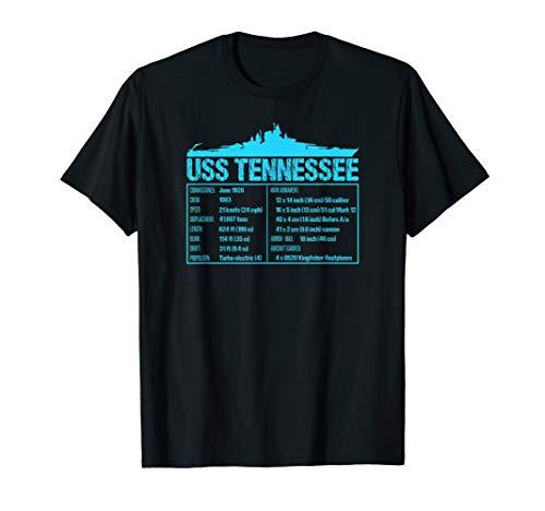 WW2 USS Tennessee Battleship Technical Facts T-shirt