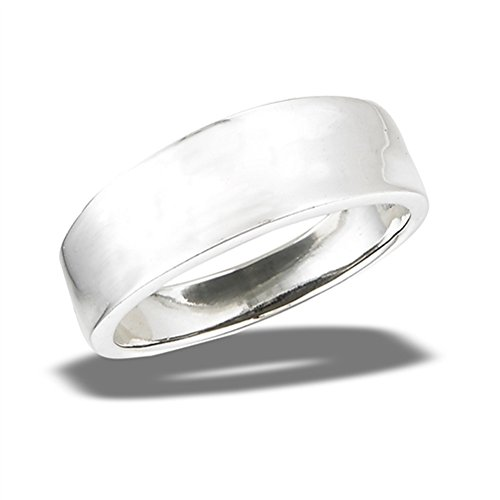 Silver High Tapered Sterling Polish (Tapered Concave Wedding Ring New 925 Sterling Silver High Polish Band Size 7)