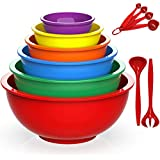 Plastic Mixing Bowls- Umite Chef 12 Piece Colorful Nesting Bowls Set Includes Measuring Cups, Microwave Safe Mixing Bowl Set