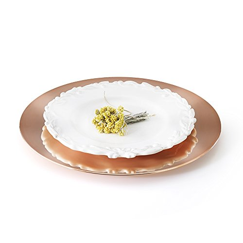 Kuprum Hand Hammered Solid Natural Copper Round Charger Plate, Decorative and Rustic for Tabletop and Service, 12.5'' by Kuprum (Image #1)
