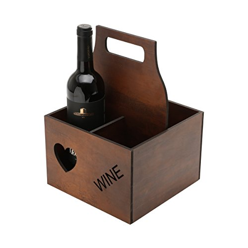 Wooden Wine or Beer Caddy / Holder / Tote / Basket / Carrier / Crate (4 compartments, Wine- Dark Wood) (Gift Crates Boxes)