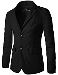 Allegra K Man Notched Lapel Padded Shoulders Two-Button Long Sleeves Blazer