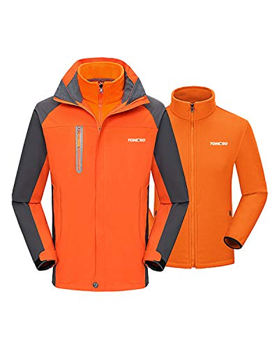 YOMEGO Detachable Hooded Ski Jacket 3 in 1 Warm Fleece Inner Snow Coat for Boys and Girls - Good for Hiking, Skiing, Traveling,Camping (Orange, 9/10)