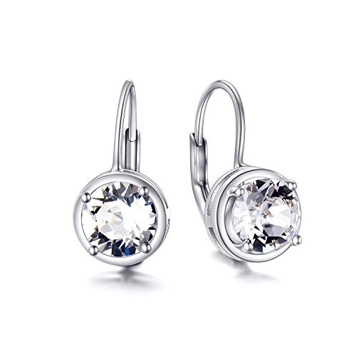 AOBOCO 925 Sterling Silver Round Cut Leverback Earrings Made with Swarovski Crystals Created 6mm Gemstones Classic Dangle Earrings For Women Girls