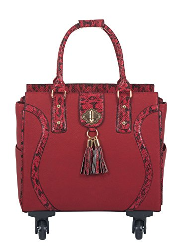 ''THE SEDONA'' Red & Python Computer iPad, Laptop Tablet Rolling Tote Bag Briefcase Carryall Bag With Spinner Wheels by JKM and Company