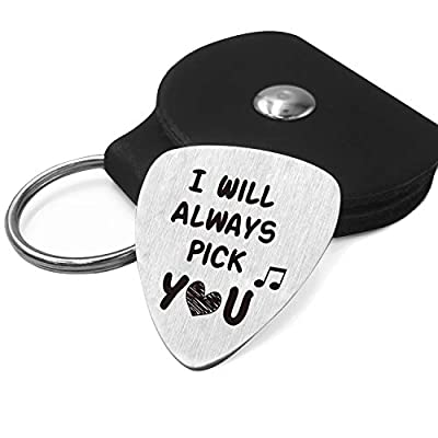 Best Love Guitar Pick Gifts - Stainless Steel Guitar Pick with Guitar Pick Holder Case - Perfect Love Gift Ideas for Him Men Her Women Lover Couple Anniversary Wedding Valentines Christmas