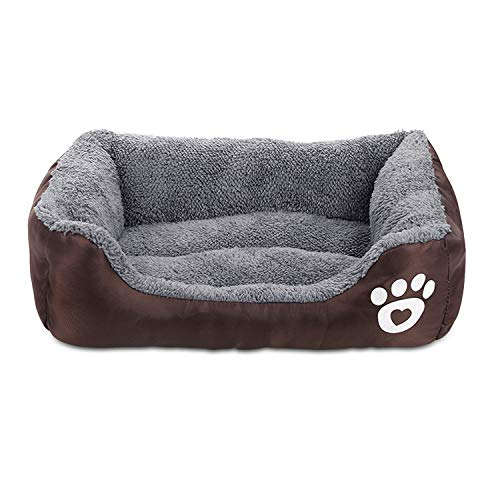 Zodae Dog Bed, Super Soft Pet Sofa Cats Bed, Non Slip Bottom Pet Lounger,Self Warming and Breathable Pet Bed Premium Bedding (L)-Coffee