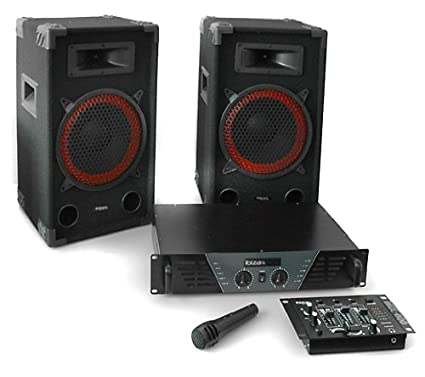 Equipo sonido DJ Ibiza 300 Set 2X altavoz PA (Amplificador 480W potencia, altavoces 400W