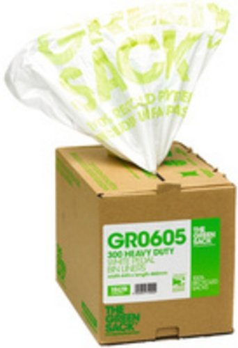 Greensack CPD74000 GR0605 Pedal/Office Bin Liner in Dispenser, White (Pack of 300) THE GREEN SACK