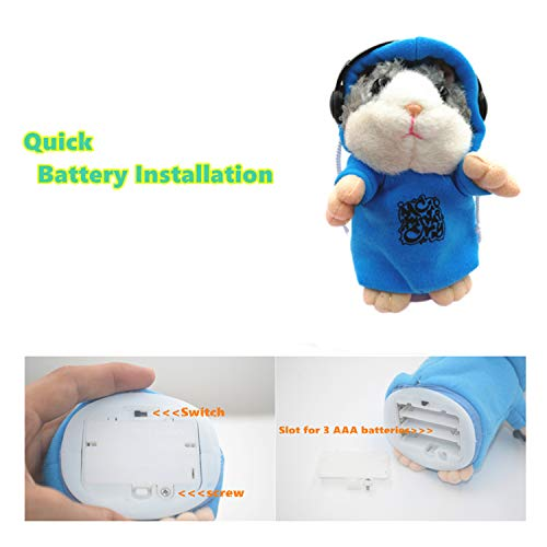 Qrooper Talking Hamster Repeats What You Say, Cute Plush Electronic Mimicry Hamster Toy with Interactive Function, Gift for Kids Birthday and Parties (Blue)