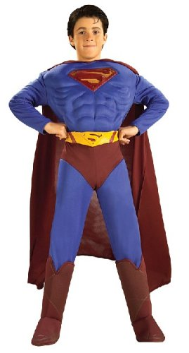 DC Comics Deluxe Muscle Chest Superman Child's Costume, Medium -