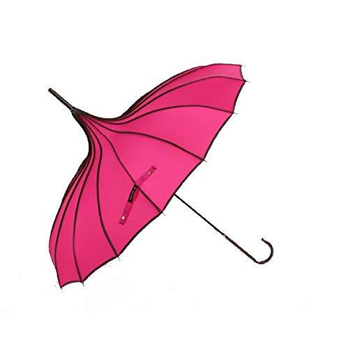 SXBag Ladies' Creative Pagoda Umbrella Plain Vintage Photography Princess Umbrella Sunshade Umbrella (Color : Rose Red)