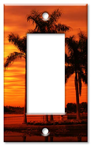 (Art Plates 1-Gang Rocker (Decora) OVERSIZE Switch Plate/OVER SIZE Wall Plate - Orange Sunset on the Beach)