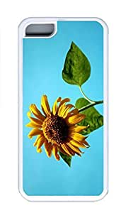 iPhone 5C Case, Personalized Custom Rubber TPU White Case for iphone 5C - Sunflower Against A Blue Sky Cover