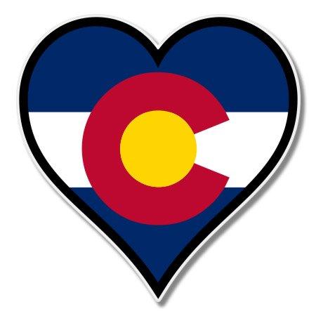Colorado Flag Heart Vinyl Sticker - Car Phone Helmet - SELECT SIZE