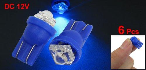 uxcell® 6 Pcs T10 Blue LED 168 194 W5W Backup Map Light Bulb Lamp DC 12V