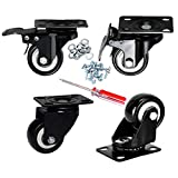 """Plate Casters, DICASAL 2"""" Swivel Rubber Heavy Duty Furniture Castors Rollers, PU Non-Marking Noiseless Wheels 2 with Brakes and 2 Unlocks Black"""