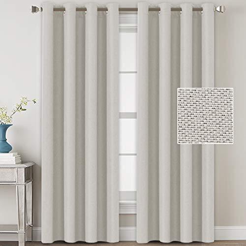 H.VERSAILTEX Linen Blackout Curtains 96 Inches Long Room Darkening Heavy Duty Burlap Efffect Textured Linen Curtains/Draperies/Drapes for Living Room Bedroom - Off White (2 Panels) (Linen Blackout 95)