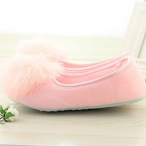 Vertvie Damen Hausschuhe Pantoffeln Warm Rutschfest Slipper Rosa