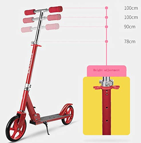 JBHURF Children's Scooter, Student Pedal Scooter, Two-Wheeled Children's Scooter with one-Second Folding Function, Adjustable Height Scooter for Children Over 8 Years Old (Color : Pink) by JBHURF (Image #6)