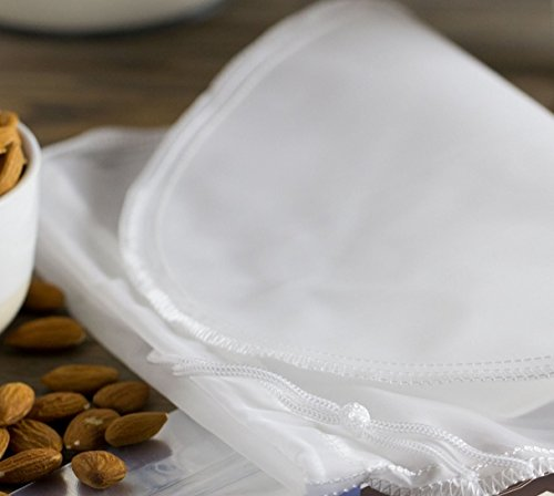 Premium Nussmilchbeutel / Passiertuch zur Herstellung veganer Milchalternativen aus 100% Nylon, Beste Qualität, zum Herstellen von natürlicher und gesunder Milch und Nussmilch, Beutel zum Auspressen von Obst und Gemüse, 25 x 30 cm, Passierbeutel, Durchseihbeutel, Seiher, Nut Milk Bag - Durchseihtuch, Filtertuch, Wiederverwendbar