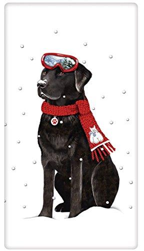 Winter Black Labrador Retriever Dog 100% Cotton Flour Sac...