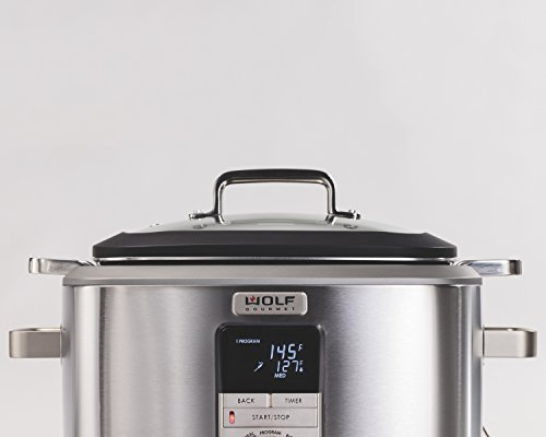 Wolf Gourmet WGSC110S Programmable Multi Function Cooker with Temperature Probe - Slow Cooker, Rice Cooker, Sauté, Sear, Sous Vide, Stainless Steel (Black) by Wolf Gourmet (Image #1)