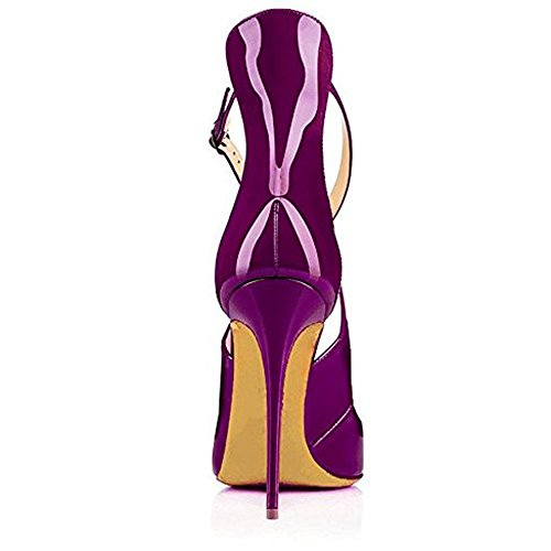 Party Ladies Dress Cross Wedding Toe Stiletto Slim Pumps Heels Purple Criss High Pointed Fashion nnr07P