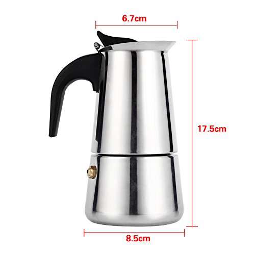 Stovetop Espresso Maker,Stainless Steel Percolator Moka Coffee Pot Cool Silicone Handle and a Flip Top Lid For Use on Gas or Electric Stovetops (200ml Pot Size)