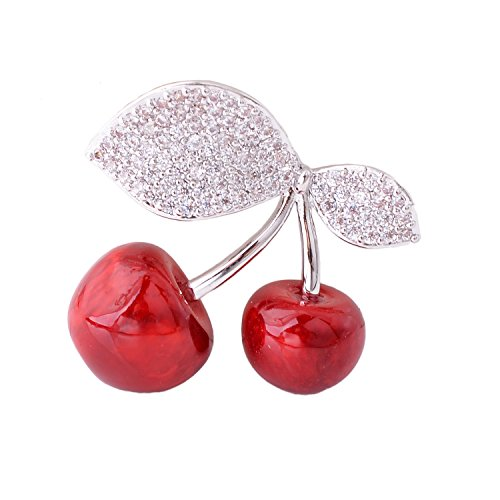 (OBONNIE Silver Tone Cubic Zirconia Red Double Cherry Dual Leaf Women Brooch Pin)