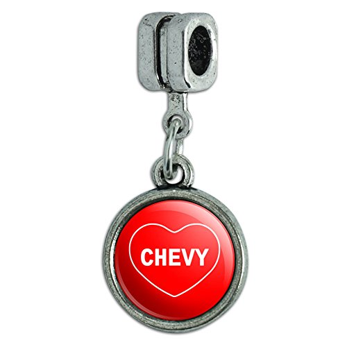 Italian European Style Bracelet Charm Bead I Love Heart Names Male C Cayd - (Chevy Charm)