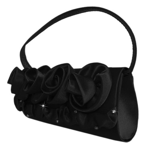 Edle Abendtasche,Blüten Clutch-Tasche,23x10 cmSchwarz