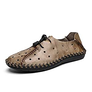 Xiang Ye Perforated Loafer for Men Slip on Moccasins Genuine Leather Antislip Handmade Sewing Stitching Boat Shoes (Color : Khaki, Size : 9.5 UK)