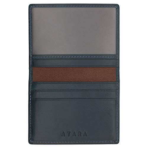 05 Orange Bifold Leather Navy Window Single Leather Blue Genuine Wallet gYx7xn