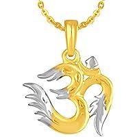 MEENAZ Fashion Jewellery Gold Plated Om Ganesh Ganpati Pendant for Men Women Girls,Locket Jewellery Set God Pendant with Chain for Man Womens Girls Unisex - God Pendant 286