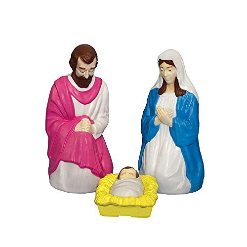 Light up 3 piece Nativity Scene Holy Family Set Christmas Decoration Durable (Christmas Decorations Blow Plastic Mold)
