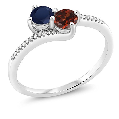 Gem Stone King 10K White Gold inchesForever Unitedinches 2-stone Diamond Right-hand Engagement Birthstone Ring Round Blue Sapphire Red Garnet 0.90 cttw, Engagement Birthstone Ring) (Size 6)