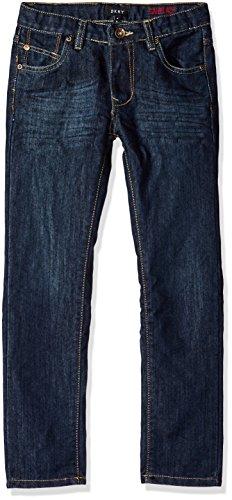 DKNY Boys' Big Greenwich Slim Fit Stretch 5 Pocket Denim Jean, Dark Indigo, 16